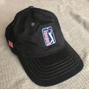 PGA Tour Black Hat with American Flag
